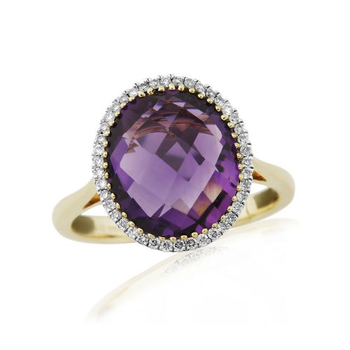 Large Oval Amethyst 9 Carat Yellow Gold Cluster Dress Ring